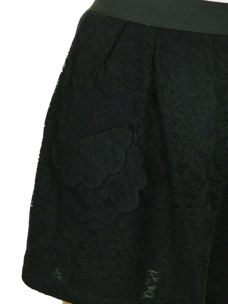7f1e2d20319 Soft Lace All Over Beach Cover Up Mini Skirt Black